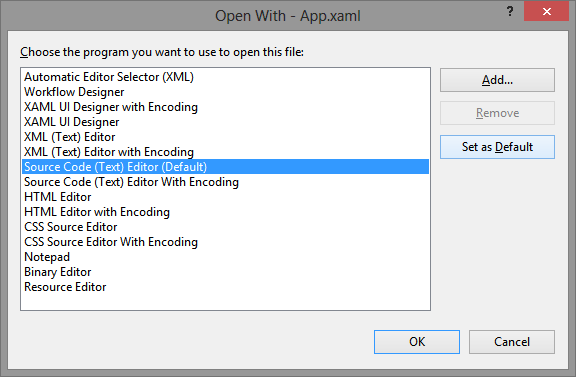 Pro Tip - Faster XAML Files Opening with Visual Studio