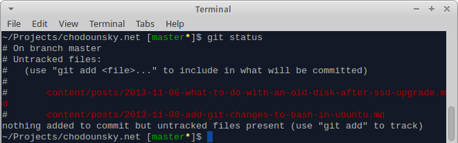 Bash with git changes